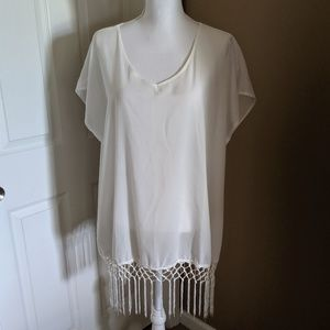 Other - Chiffon cover-up with fringe